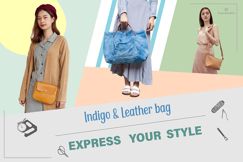 Indigo and leather bag