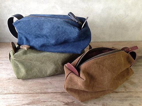 Leather toiletry pouch