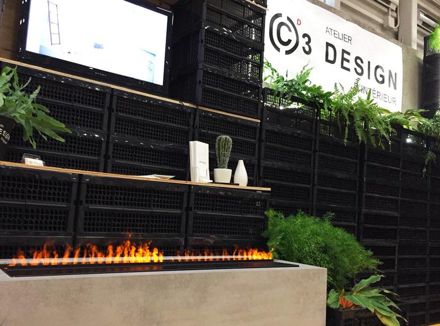 Réalisation Atelier C3 design - foyer à vapeur autoportant