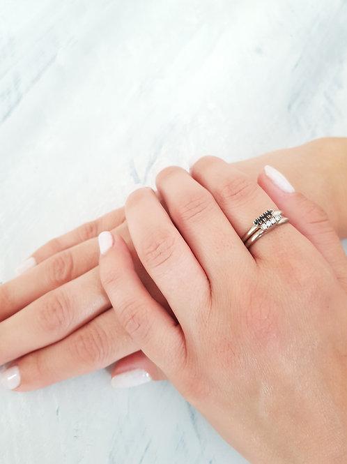 טבעת FLAT DIAMOND- כסף וזירקונים