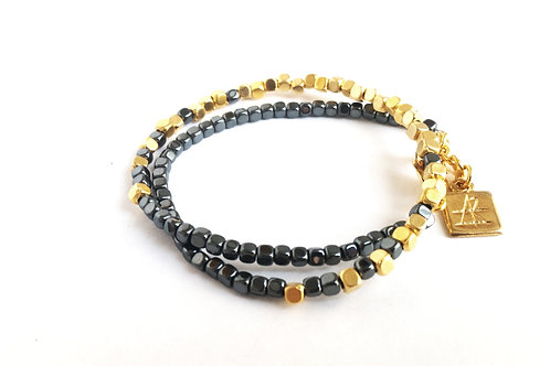 צמיד SAHARA- זהב ואפור כהה