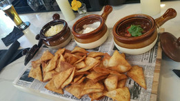 Home-made chips & guacamole