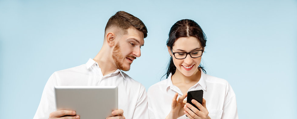 concept-of-partnership-in-business-young-happy-smiling-man-and-woman-standing-with-phone-a