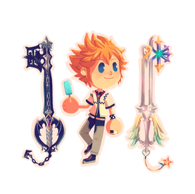 Roxas with Oblivion and Oathkeeper
