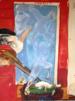 """Limbo"", oil & mixed media on canvas, 54""(h) x 44""(w), $7000"