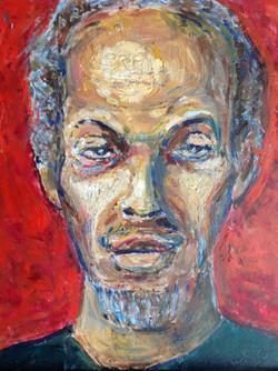 """Danny Jupe"", self portrait, acrylic on masonite, $1800"