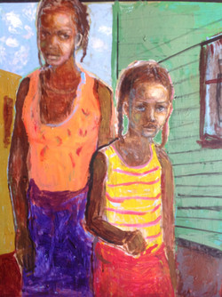 """""""Step Sisters"""", mixed media, 60""""(h) x 48""""(w), $4300"""