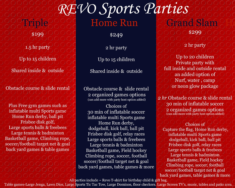 Customize Kids Private Party Events @ Revo