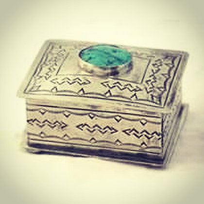 Silver Stamped Box w/ Turquoise Stone
