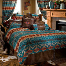 Turquoise Chamarro Bed Set, Queen