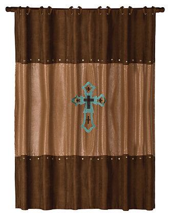 Las Cruses Turquoise Shower Curtain