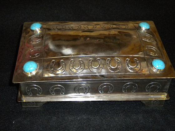Silver Stamped Box w/Turquoise