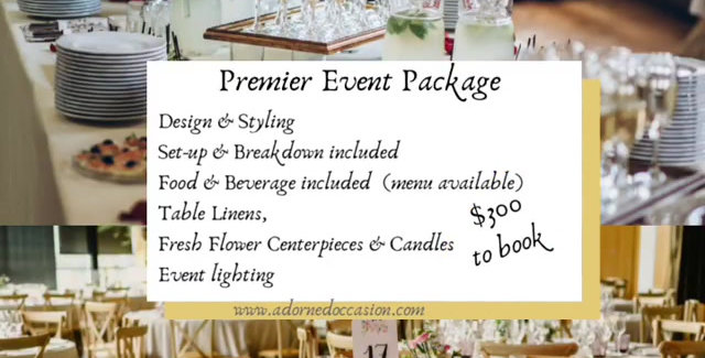 The Premier Event Package $59/person