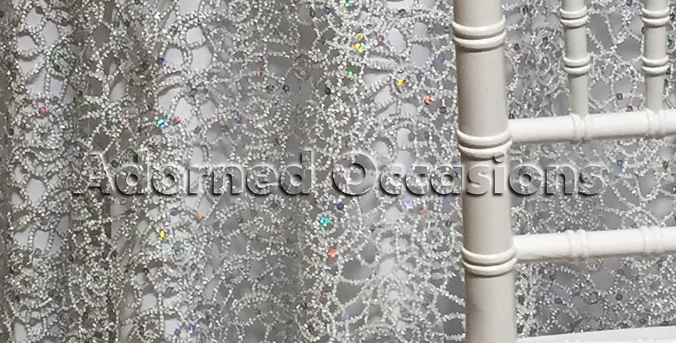 90x90 Silver Sequin Lace