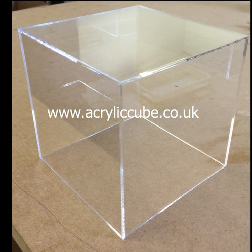250mm square 5 sided clear acrylic box cube acrylic cube display. Black Bedroom Furniture Sets. Home Design Ideas