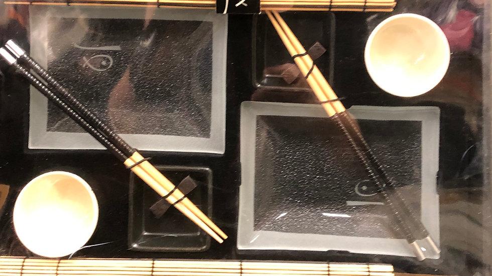 10 piece sushi dish set Black and Tan coloured