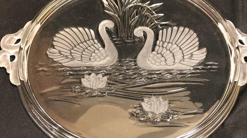 Beautiful glass platter with swan design