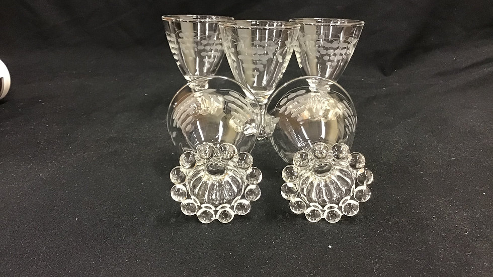 Set of 5 sherry glasses with grape design 4 inches tall