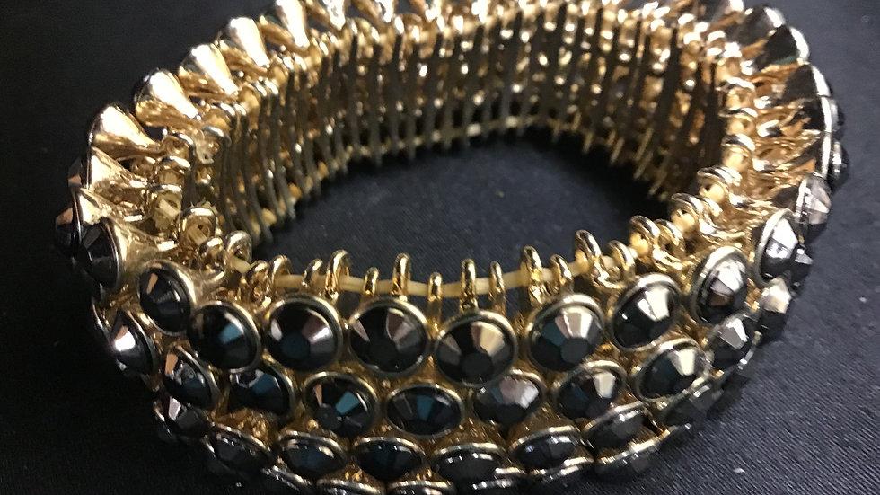 Faux Onyx/gold bracelet