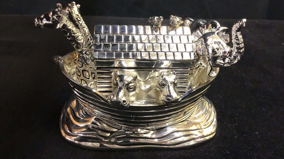 """Antique Silver plated  wind up """"Noah's Ark"""" Musical"""""""