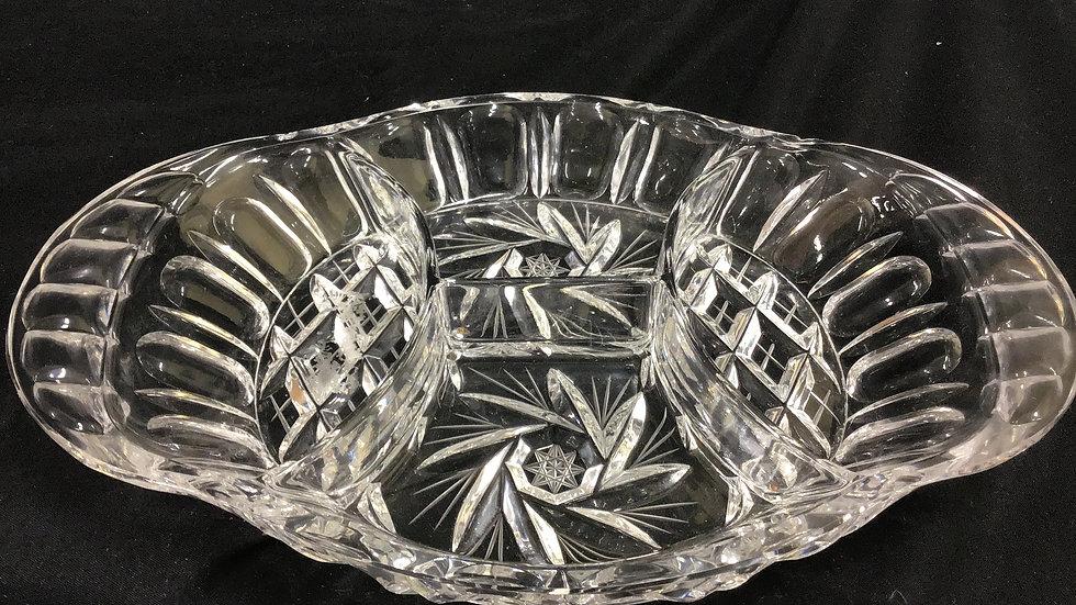 Set of two pinwheel crystal dishes