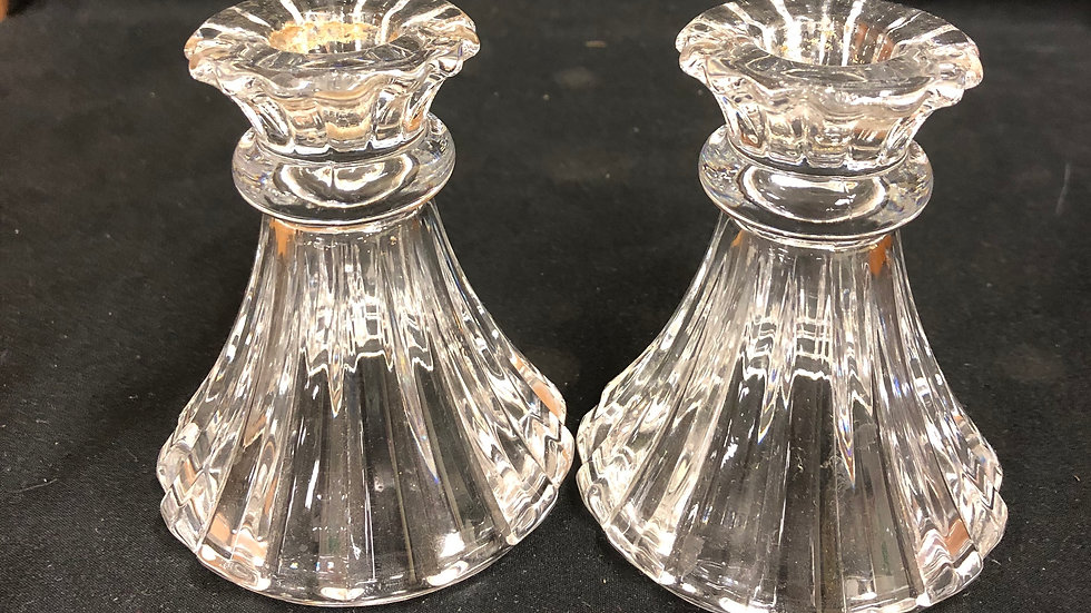 "Set of 2 glass candle holders  4"" tall"