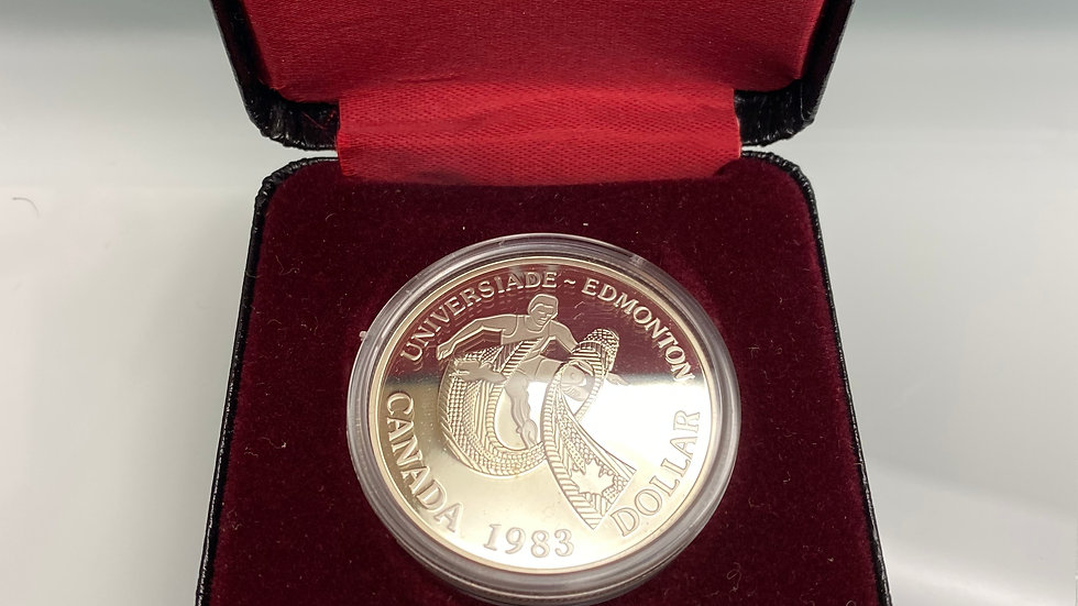 1983 Canadian $1 World University Games in Edmonton Proof Silver Dollar Coin