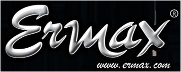 Logo ERMAX, entreprise française de design et tuning moto, ermax est situé a côté du circuit du castelet. Ermax SA, roger Sabater, produit distribué en Suisse par MAGEF DIFFUSION