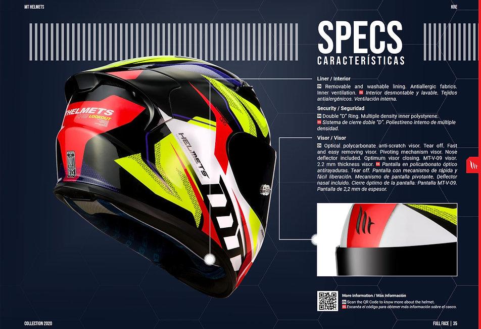 Casque Intégral Moto KRE LOOKOUT MT HELMETS haut de gamme préparé pour la course sur circuit. MT HELMETS est une marque de casques espagnol distribué en Suisse par MAGEF DIFFUSION
