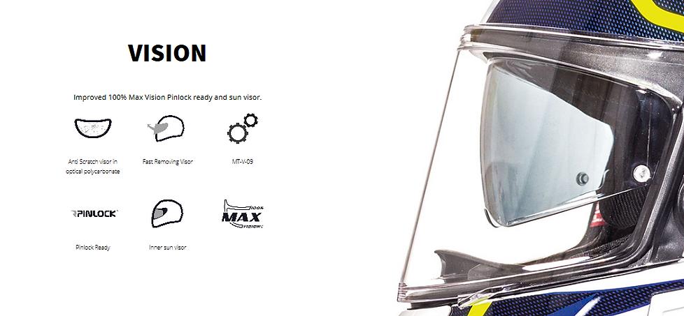 Casque MT HELMETS équippé d'une visière haut de amme Max vision afin d'obtenir une meilleur visibilité. Visière pinlock rady, anti-rayures en plas
