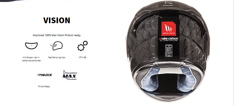 Casque MT HELMETS équippé d'une visière haut de amme Max vision afin d'obtenir une meilleur visibilité. Visière pinlock rady, anti-rayures en plastique renforcé.