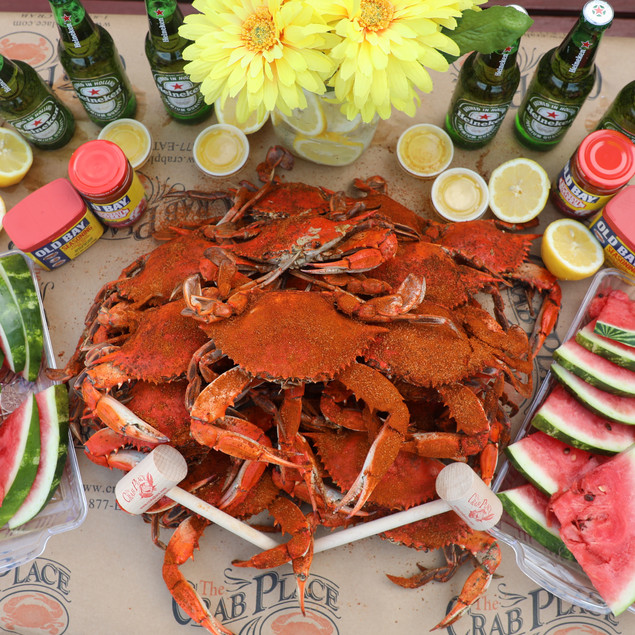 Crab Place crab feast with watermelon.