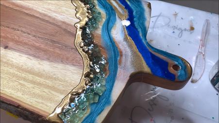 Modern Resin Geode Art Charcuterie Board Tutorial