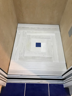 White oak with glass tile inlay