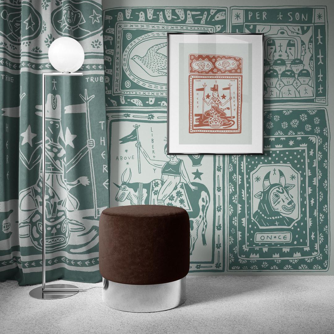 keya tama_wallpaper with stool.jpg