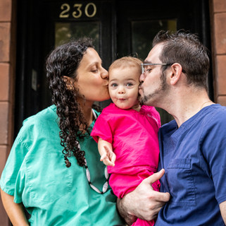 Jonathan & Amy, essential workers, with their daughter, Samya (and baby Eve Alyna in the belly) in Park Slope