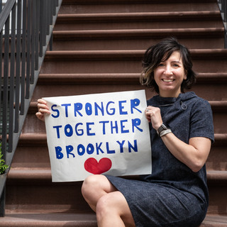 Pinar Gnepp, co-founder of Stronger Together, in front of her Boerum Hill home