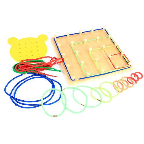 Wooden Peg & String Threading Board | 2-D Spatial-Visualization Training Board