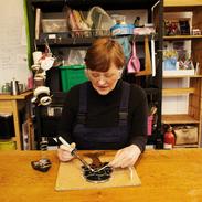 Julie Fiona Thornton in the studio.