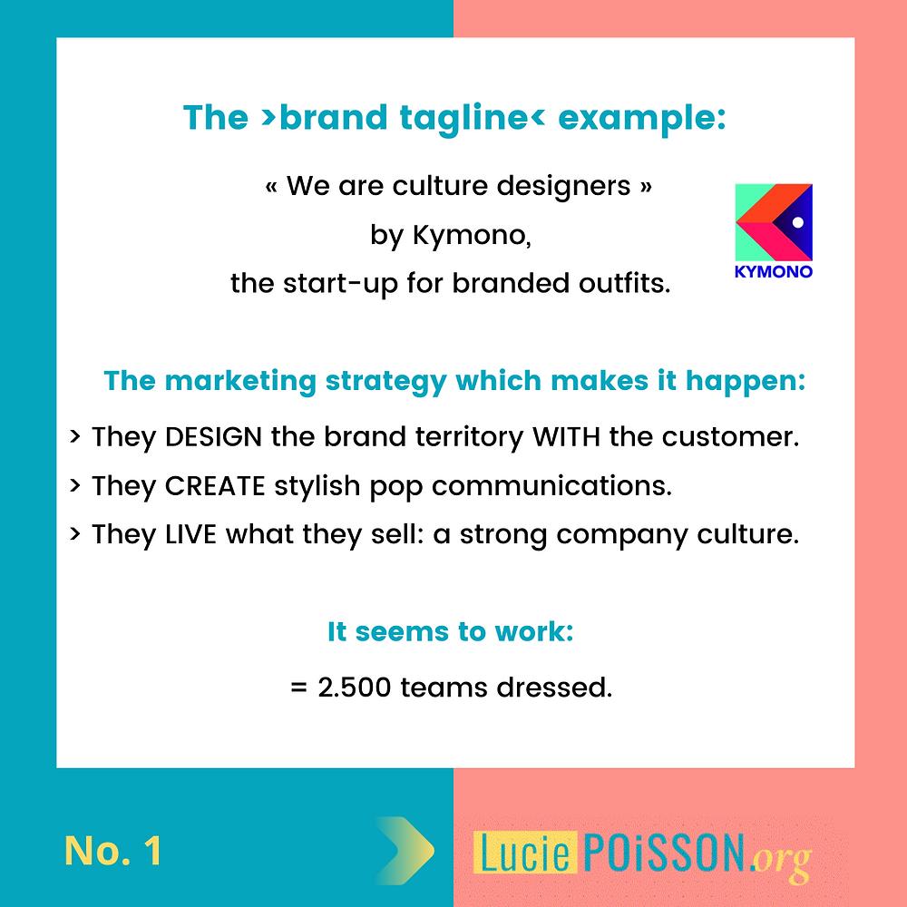 Brand tagline: the example of Kymono