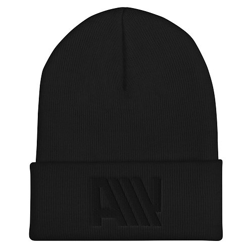 Lean Back Monochromatic Black Cuffed Beanie