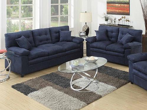 L7909 Plush microfiber Loveseat & Sofa Set