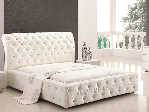 Diva White Upholstered Bed