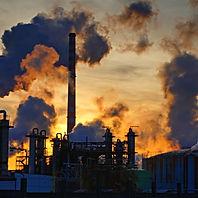 Chimneys-smoke-chemical-factory-sunsets-
