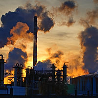 Chimneys-smoke-chemical-factory-sunsets-