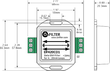 OnFILTER Data EMI Filter Dimensions