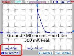 EMI Current on Ground Without GLE04-01 EMI Filter