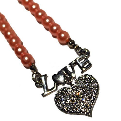Dog necklace - Love Heart Pink