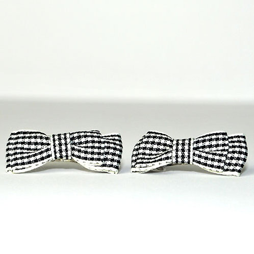 Black & White Tartan Clips