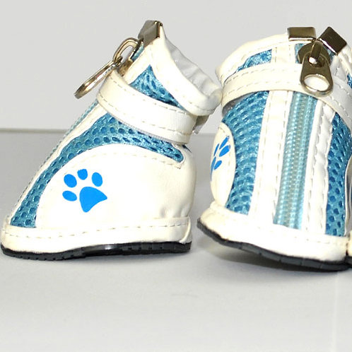 Blue Mesh Sneakers with White Strips